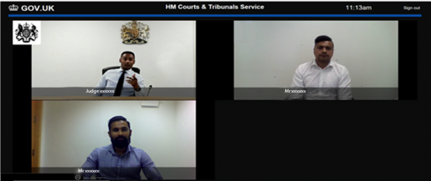 A screenshot taken from a computer of three people taking part in a video hearing.
