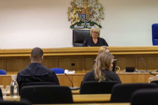 Judge sitting in a court