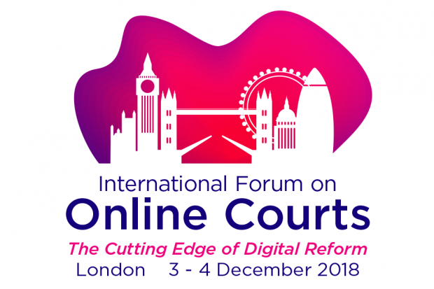 International Forum on Online Courts logo, which reads: The Cutting Edge of Digital Reform, London, 3 - 4 December 2018.