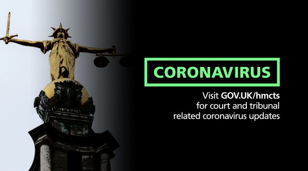 Lady justice with cornavirus message: visit GOV.UK/HMCTS for courts and tribunals related coronavirus updates