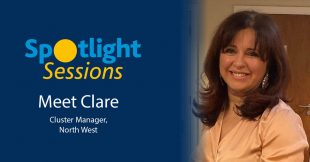 Photo of Clare Beech alongside the HMCTS Spotlight Sessions logo