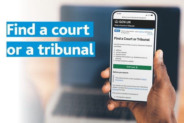A mobile phone displays the Find a Court or Tribunal web page