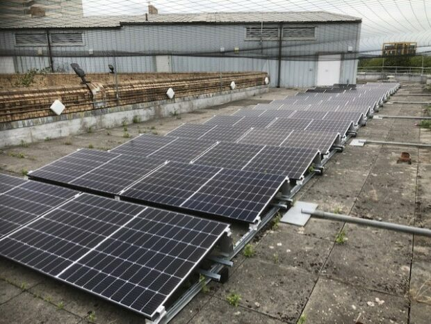 Solar panels on the roof of a court building